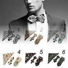 Men Gentlemen Floral Bowtie Wedding Bow Tie Necktie & Pocket Square Handkerchief