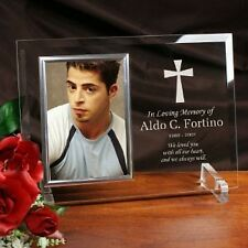 Personalized Glass Memorial Picture Frame Beveled Glass Engraved Sympathy Frame