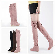 Womens All US Sz Hidden Wedge Casual Pull On Over knee High Boot Suede New Shoes