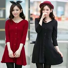 3/4 Sleeve Faux Buttons Pleats Tunic Flared Women's A Line Cocktail Party Dress