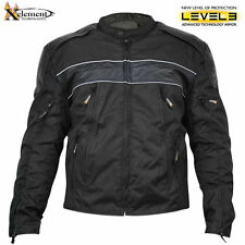 Mens Tri-Tex Fabric and Leather Level-3 Armored Motorcycle Jacket  XS1969