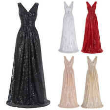V-Neck Long Sequins Evening Cocktail Party Dress Wedding Ball Gown Bridesmaid