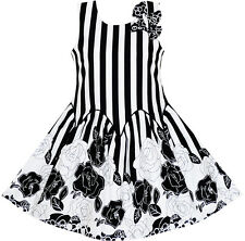 Girls Dress Sleeveless Black White Stripes Flower Bow Tie Size 7-14