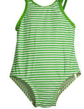Baby Buns Infant One Piece Lime Green Striped Swimsuit - New
