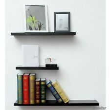 3PCS SOLID FLOATING SHELF SET WALL SHOP DISPLAY CONCEAL FITTING BLACK 40/60/80cm