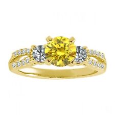 1 Carat Yellow & G-H Diamond Fancy Three Stone Wedding Ring 14K Yellow Gold