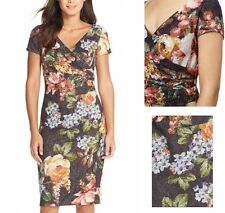 Adrianna Papell John Lewis Navy Floral Wrap Shift Dress Occasion £220 12-16UK