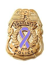 Periwinkle Awareness Ribbon Pin Police Badge Security Sheriff Cancer Gold New