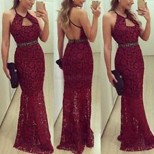 Sexy Women's Backless Lace Slim Maxi Prom Wedding Party Gown Evening Long Dress