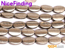 """Natural Grey Oval Twist Pyrite Gemstone Beads Lot For Jewelry Making Strand 15"""""""