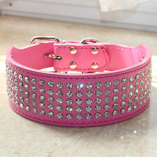 Hot Pink 2inch Wide 5 Rows Bling Diamante Rhinestone Leather Pet Big Dog Collars