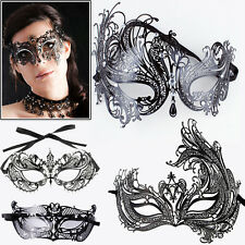 NEW Sexy Black Venetian Style Metal Mask Masquerade Party Prom Ball Fancy Dress