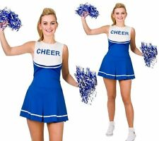 Adults High School Cheerleader Costume Ladies Blue Fancy Dress Outfit + POM POMS