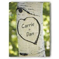 Personalized Love Tree Carving Photo Wall Canvas Wedding or Valentines Day Gift