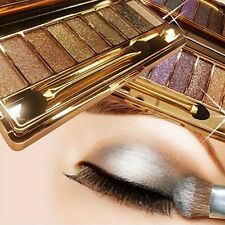 9Color Fashion Shimmer Eyeshadow Eye Shadow Palette Makeup Cosmetic Brush Set FT