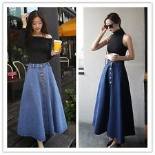 Lady single breasted A-line style denim cotton full length skirt casual maxi