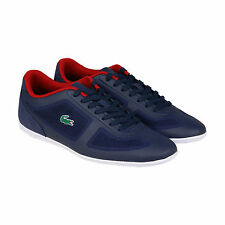 Lacoste Misano Evo Mens Blue Leather Lace Up Sneakers Shoes