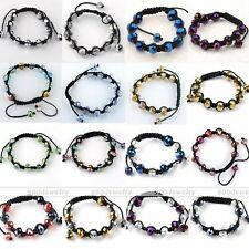 Adjustable Faceted Crystal Glass Beads Disco Hip Hop Knitted Macrame Bracelet