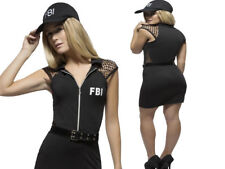 Adult FBI Police Officer Costume American Cop Ladies Fancy Dress