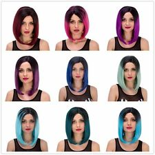 Womens Mixed Color Gradient Short Straight Fluffy Cosplay Wig Casual Rainbow Wig