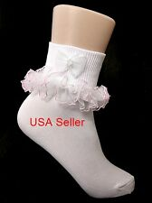 Girls Pink Ruffle Trim Socks White Pearls & Bow Nylon 0-9 Youth USA Seller