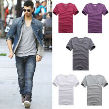 Men t-shirt V Neck Cotton solid Tops Blouse Short Sleeve t-shirt Tee Undershirts
