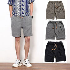 Linen pants Mens Slim Fit Flat Solid Casual Shorts Shorts Pants Cropped Trousers