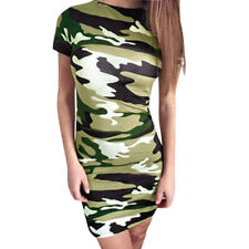 Women Camouflage Pattern Short Sleeve Sheath Dress