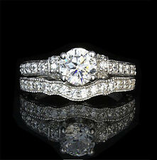 USA TOP GRADE 14K WHITE GOLD LAYER SILVER 1CT SIMULATED DIAMOND RING BAND SET
