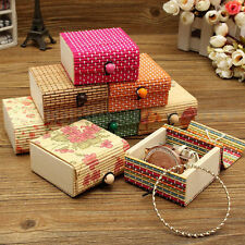 Delicate Mini Modern Bamboo Square Wooden Jewelry Storage Box Craft Case Gifts