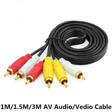 3 RCA to 3 RCA Male To Male Composite TV AV Audio Video Extention Cable Cord