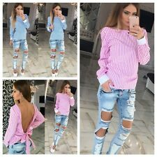 Sexy Women Girls Bandage Striped Long Sleeve Backless Casual Shirt Tops Blouse