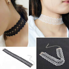 Vintage Hot Handmade Crochet White Black Lace Choker Collar Necklace Jewelry New