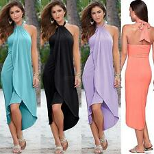 Sexy Women Halter Chiffon Dress Sleeveless Summer Long Party Beach Maxi Sundress