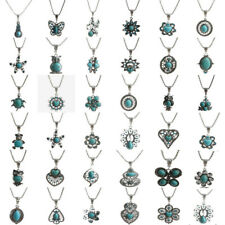Vintage Women Tibetan Silver Turquoise Crystal Pendant Fashion Bib Long Necklace