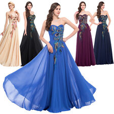 Womens Sexy Strapless Peacock Bridesmaid Long Prom Evening Maxi Cocktail Dress