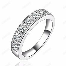 Fashion Cubic Zirconia Women Engagement Band Ring 18k White Gold Plated Jewelry