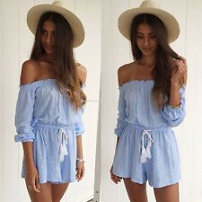 Summer Women Off Shoulder Playsuit Clubwear Party Jumpsuit Romper Trousers LOT