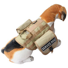 Tactical SERVICE DOG Vest Harness w/ POCKETS & Side Bags free label Patches