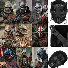 Outdoor War Game Paintball Tactical Airsoft Skull Full Face Mask Metal Mesh Eye