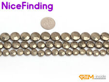 """Coin Genuine Smooth Faceted Pyrite Beads Jewelry Making Gemstone Silver Gray 15"""""""