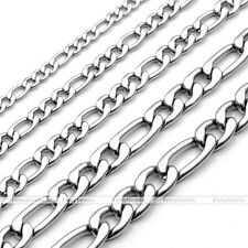 """3-7mm 20-24"""" 316L Men Women Stainless Steel Figaro Chain Necklace Chain NK Links"""