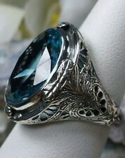 16ct *Aquamarine* Sterling Silver Victorian Filigree Ring (MTO/New) Size Any