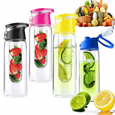 Hot Utility Plastic Flip Lid Fruit Infusing Infuser Juice Water Bottle Sport