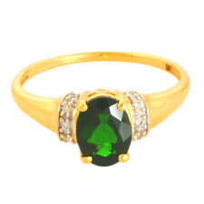 CHROME DIOPSIDE 1.20 CT W. TOPAZ NATURAL GEMSTONE RING IN 10 KT YELLOW GOLD