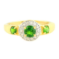 Chrome Diopside & Natural Zircon Genuine Gemstone Ring In 10kt Yellow Gold