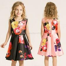 Baby Kids Girls Floral Dress Wedding Pageant Dress Kids Summer Beach Sundress