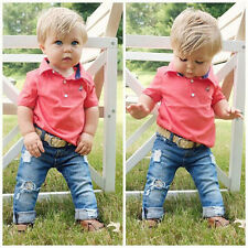 Baby Boys Outfits! Toddler Boys Short Sleeve T-Shirt +Jeans Sets Kids Clothes