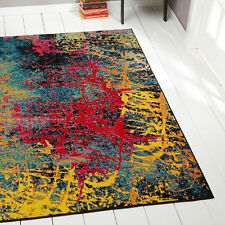 Lines Swirls Contemporary Modern Area Rug Multi-Color Abstract Splotches Carpet