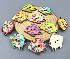 Wooden buttons 2-hole Sewing Mixed color Kissing Fish Scrapbooking Crafts 30mm